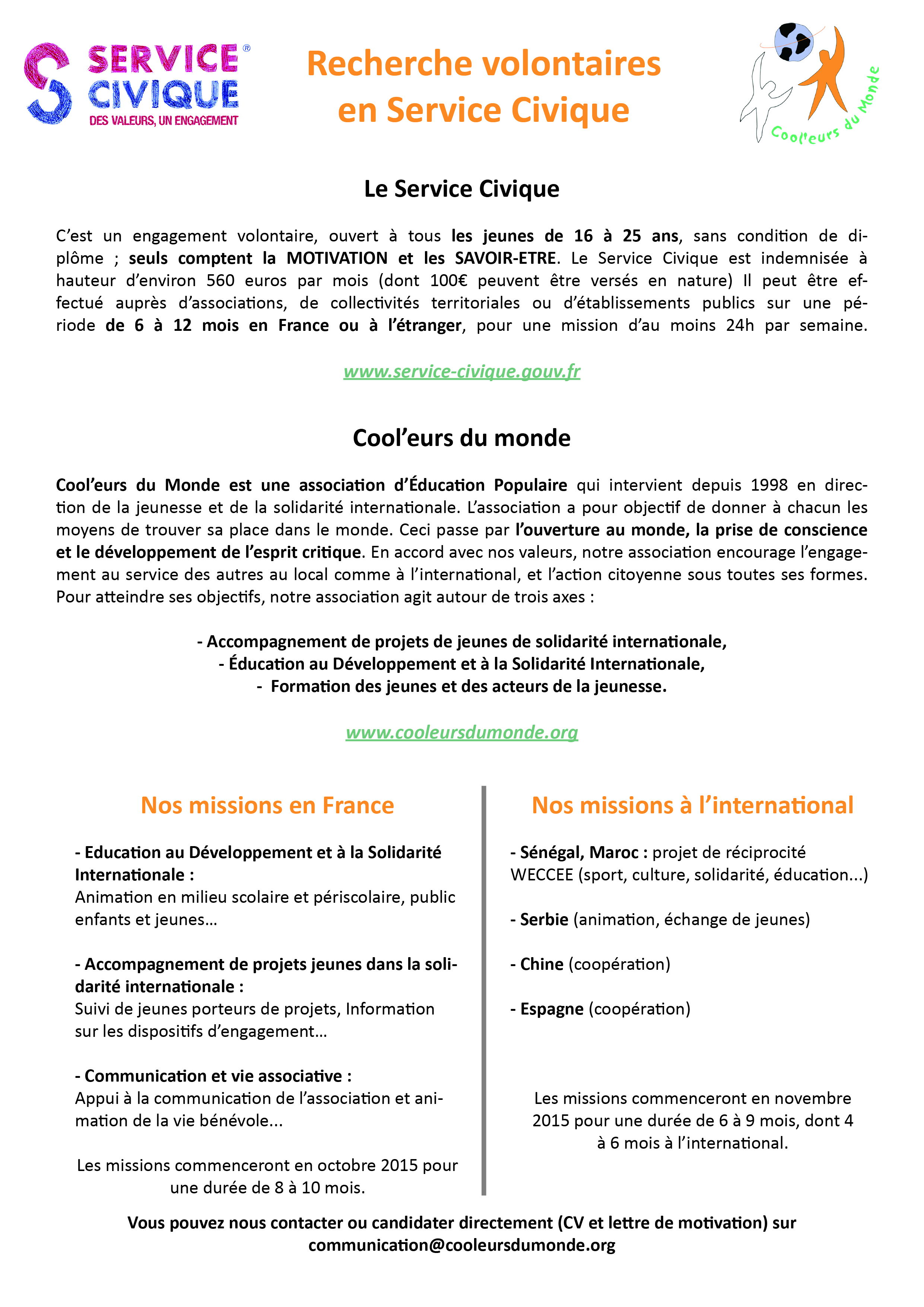 rtf  lettre de motivation volontariat international a l